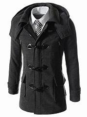 Men-Hooded-Flap-Pocket-Vented-Plain-Woolen-Coat