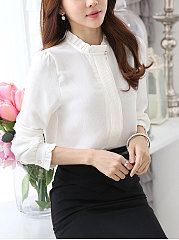 Autumn Spring  Polyester  Women  High Neck  Decorative Button  Plain  Long Sleeve Blouses