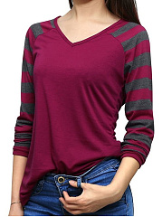 V Neck  Patchwork  Stripes Long Sleeve T-Shirts