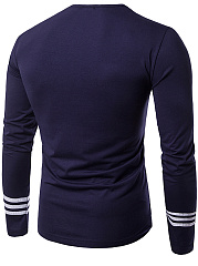 Men Striped Round Neck Long Sleeve T-Shirt