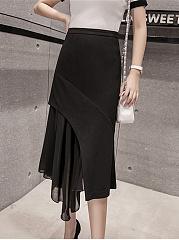 Designed-Asymmetric-Hem-Patchwork-Plain-Midi-Skirt