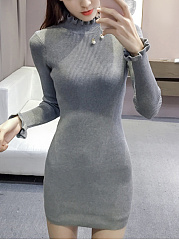 High Neck Ruffle Trim Plain Knitted Mini Bodycon Dress