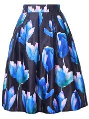 Inverted-Pleat-Floral-Printed-Flared-Midi-Skirt