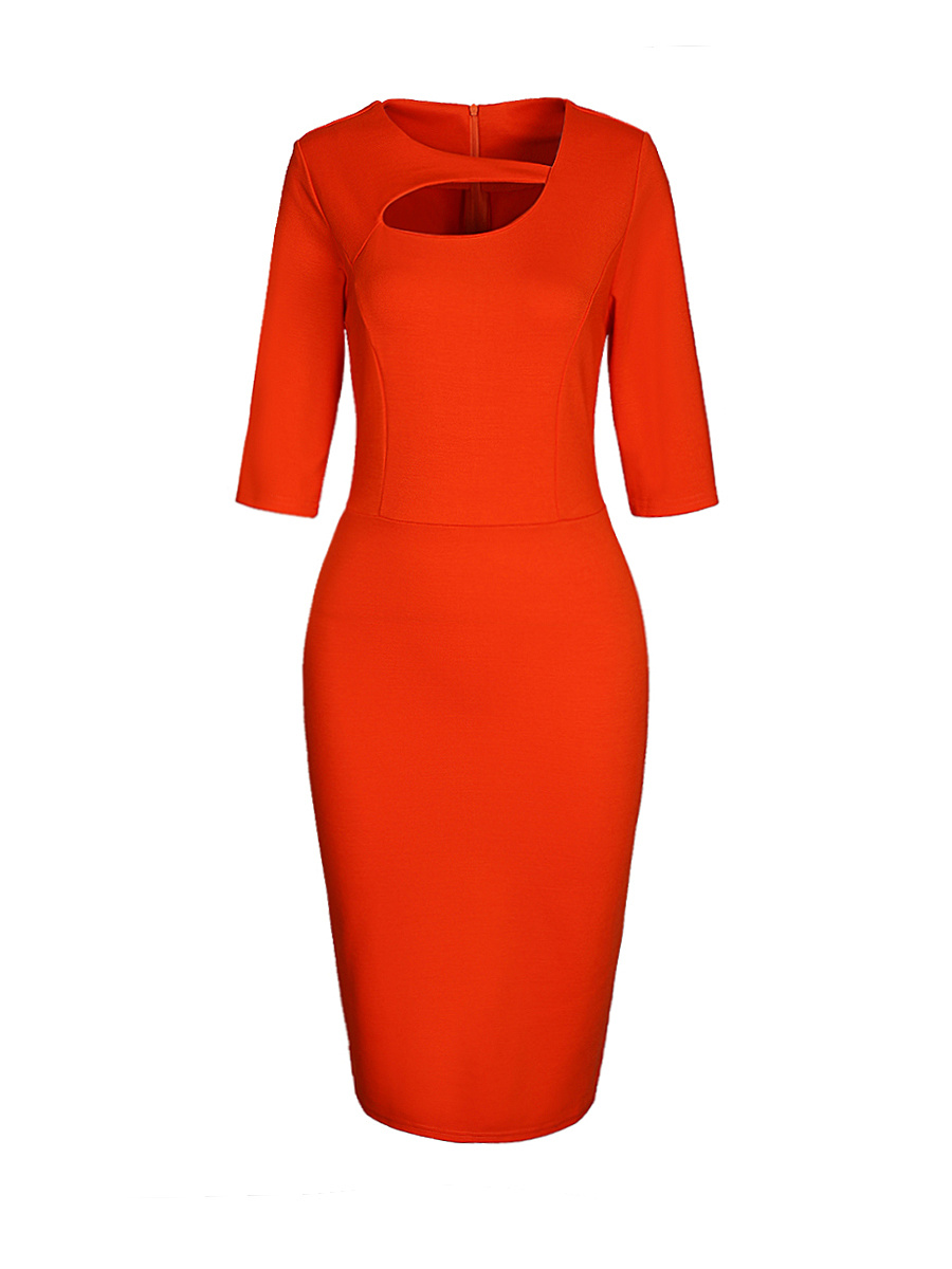Asymmetric Neck Cutout Slit Solid Bodycon Dress