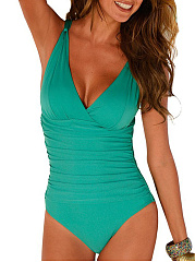 V Neck  Plain One Piece Swimwear