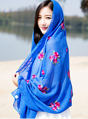 New Lady Fashion Floral Printed Linen Scarves