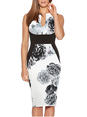 Split Neck Floral Printed Bodycon Dress