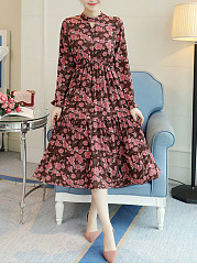 Band Collar  Elastic Waist  Printed  Chiffon Maxi Dress