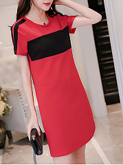 Fashion Round Neck  Color Block Shift Dress