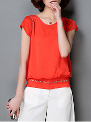 Spring Summer  Blend  Women  Round Neck  Decorative Lace  Plain  Short Sleeve Blouses
