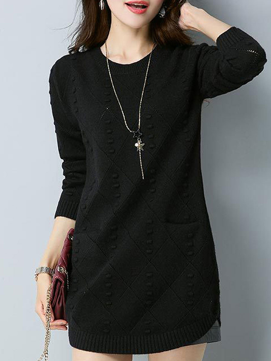 Round Neck Solid Embossed Sweater
