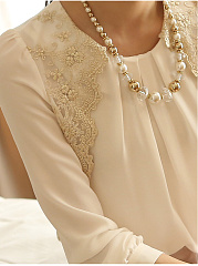 Autumn Spring  Polyester  Women  Round Neck  Decorative Lace  Plain  Long Sleeve Blouses