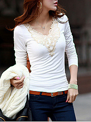 Autumn Spring  Cotton Blend  Women  V-Neck  Decorative Lace  Plain Long Sleeve T-Shirts