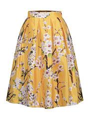 Elastic-Waist-Floral-Printed-Flared-Midi-Skirt