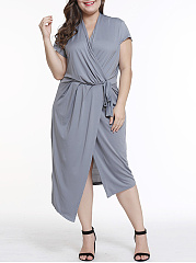 V-Neck  Lace-Up  Plain Plus Size Midi  Maxi Dress