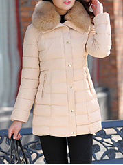 Hooded  Zips  Decorative Button  Plain  Long Sleeve Coats