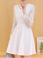 V-Neck  Beading Ruffled Hem  Hollow Out Lace Plain Skater Dress