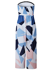 Strapless Color Block Geometric Wide-Leg Jumpsuit