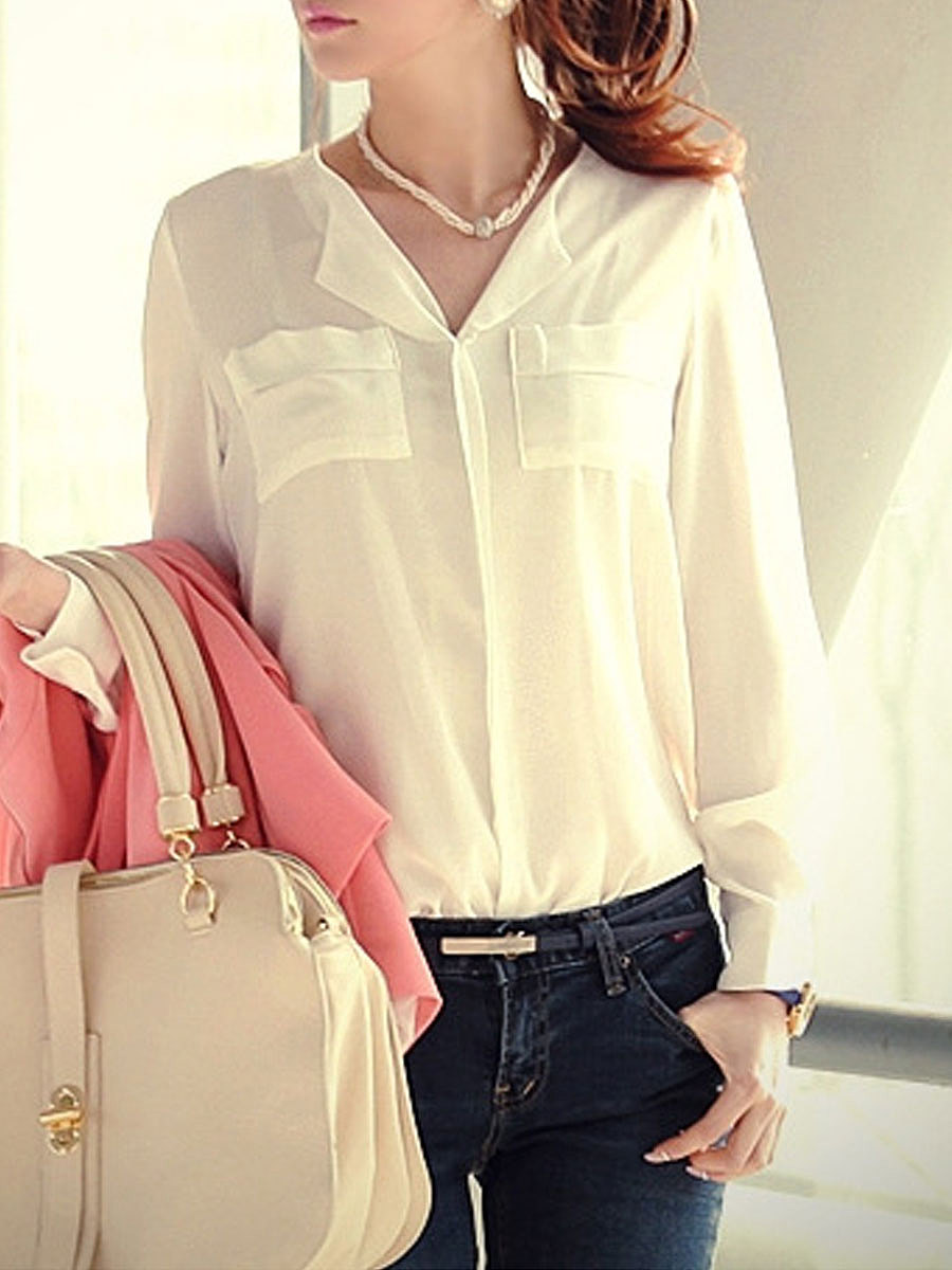 Spring Summer  Chiffon  Women  Fold-Over Collar  Patch Pocket  Plain  Long Sleeve Blouses