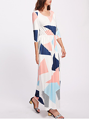 Round Neck  Elastic Waist  Geometric Maxi Dress