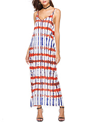 Spaghetti Strap  Printed  Polyester Maxi Dress