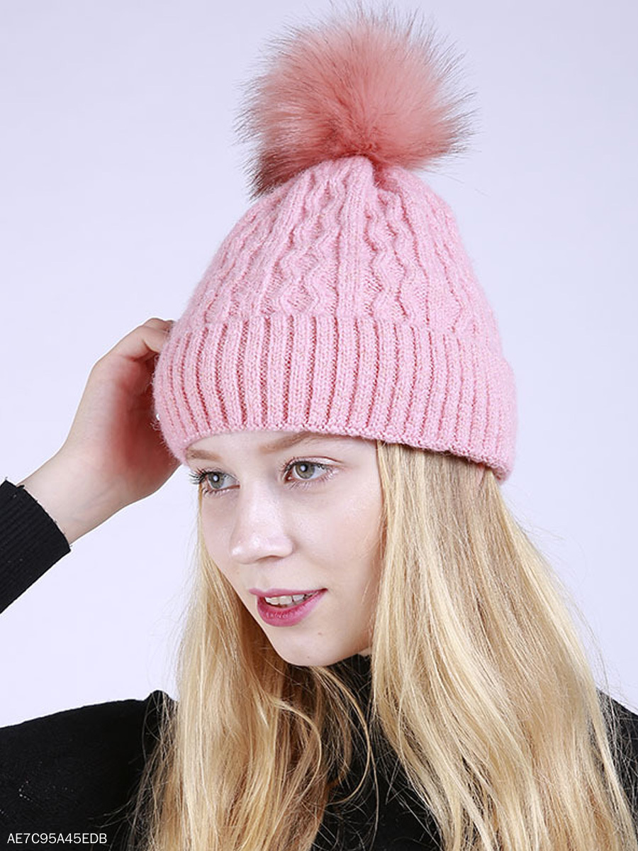 Fur Ball Thick Winter Warm Knitted Pullover Hats - fashionMia.com 6a78e515d20