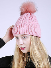 Fur-Ball-Thick-Winter-Warm-Knitted-Pullover-Hats