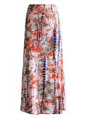 Abstract Print  Flared Maxi Skirt