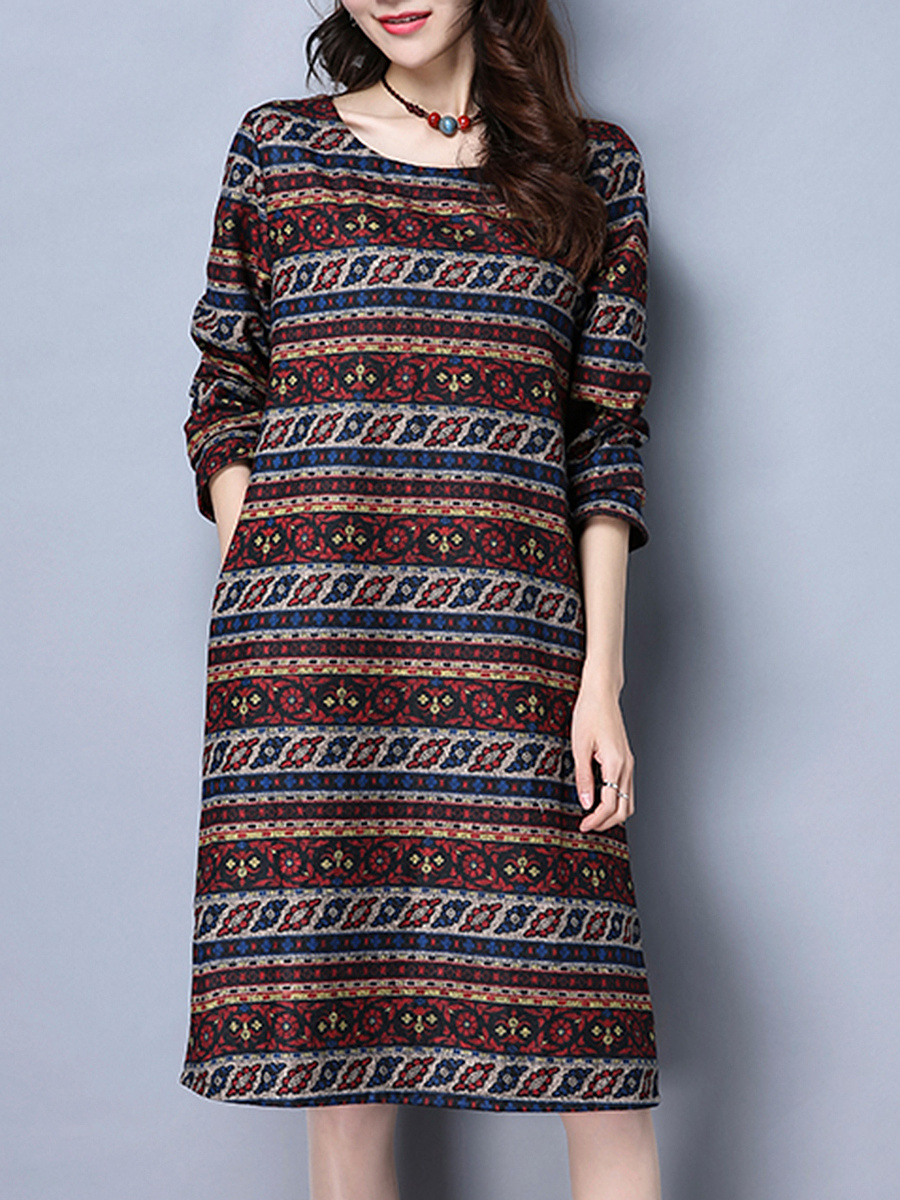 Round Neck Pocket Striped Tribal Printed Shift Dress
