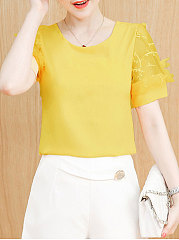Spring Summer  Chiffon  Women  Round Neck  See-Through  Plain  Short Sleeve Blouses