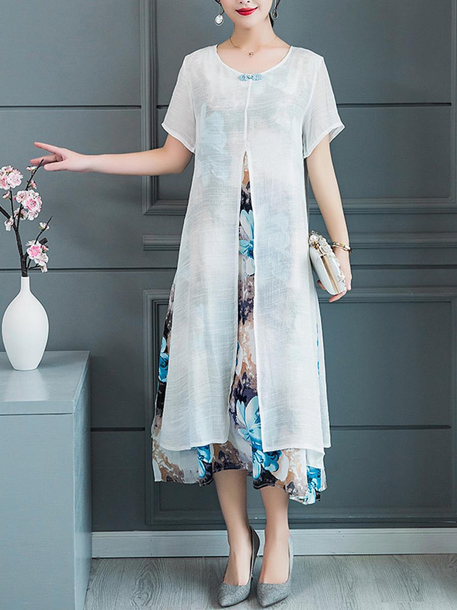 Round Neck  Fake Two-Piece  Printed Maxi Dress