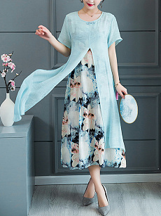 Round Neck  Fake Two-Piece  Printed Maxi Dress