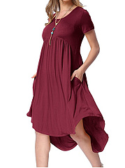 Round Neck  Asymmetric Hem  Plain High-Low Skater Dress