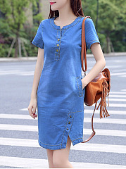 Split Neck Pocket Light Wash Denim Bodycon Dress