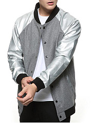 Men-Band-Collar-Pocket-Raglan-Sleeve-Bomber-Jacket