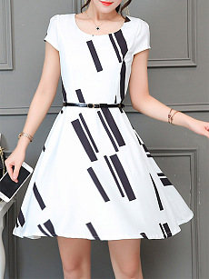 Round Neck Geometric Printed Skater Dress