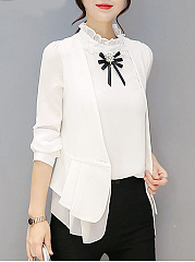 Collarless Single Button Plain Peplum Sleeveless Blazer