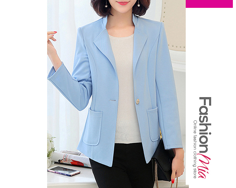 gender:women, hooded:no, thickness:regular, brand_name:fashionmia, outerwear_type:blazer, style:mature style, material:polyester, collar&neckline:notch lapel, sleeve:long sleeve, more_details:single button, pattern_type:plain, how_to_wash:cold  hand wash, season:autumn,spring, package_included:top*1, lengthshouldersleeve lengthbust