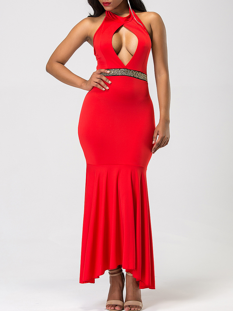 Halter Cutout Mermaid Maxi Dress