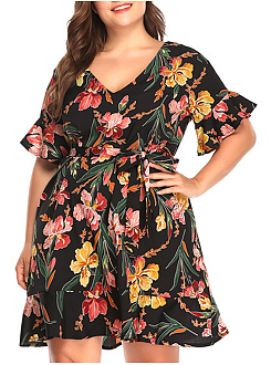 V-Neck  Flounce  Floral Plus Size Bodycon Dress