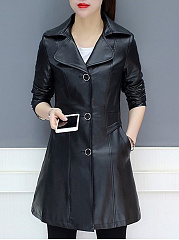 Lapel  Single Breasted  Plain  Long Sleeve Trench Coats