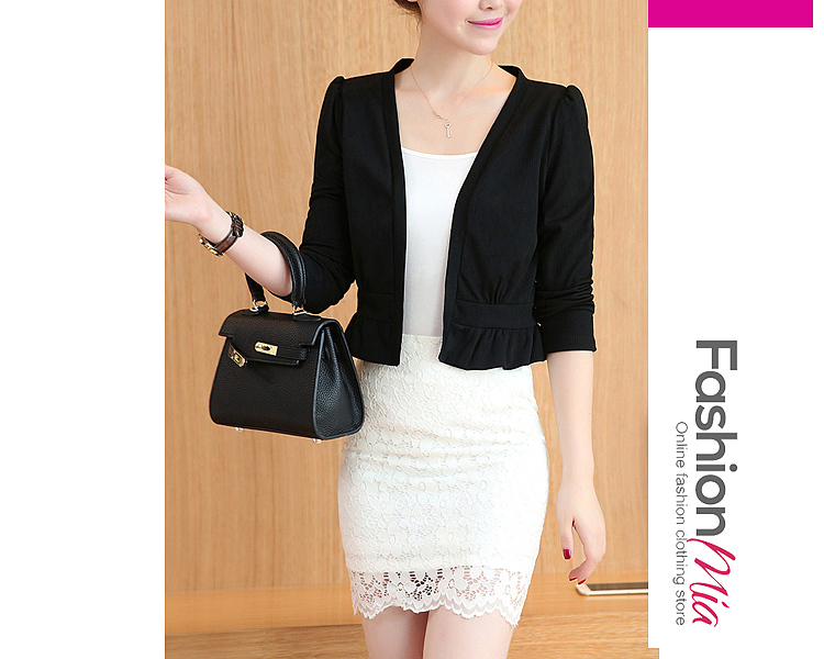 material:knit, collar&neckline:collarless, sleeve:long sleeve, pattern_type:plain, occasion:date*office, season:autumn, package_included:top*1, how_to_wash:lay flat to dry, hooded:no, thickness:regular, outerwear_type:blazer, style:casual, length:44,shoulder:38,sleeve length:53,bust:86,