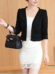 Collarless-Plain-Knitted-Blazer