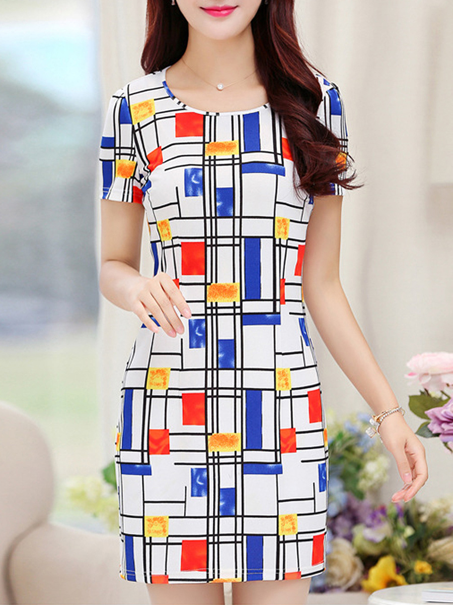 Feminine Geometric Round Neck Bodycon Dress