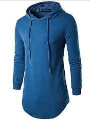 Long Sleeve Zips Curved Hem Plain Men Hoodie