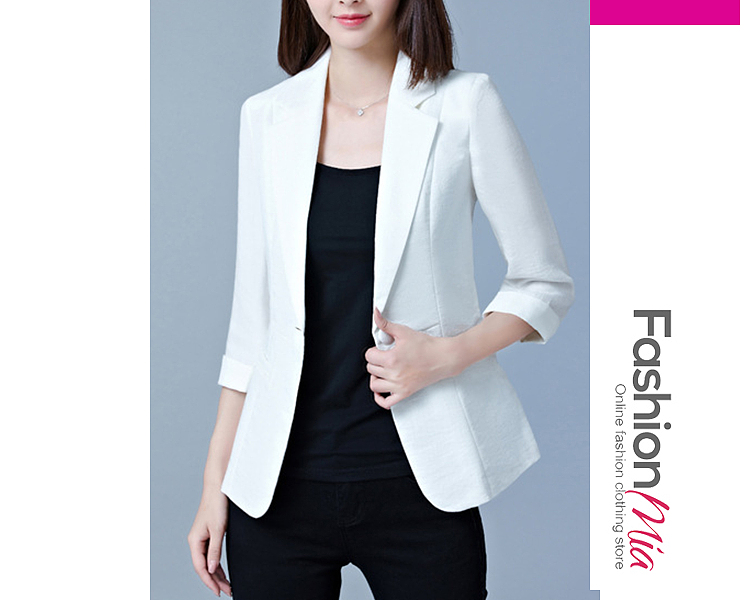 material:cotton blend, collar&neckline:notch lapel, sleeve:three-quarter sleeve, more_details:single button, pattern_type:plain, occasion:office, season:autumn, package_included:top*1, length:59,shoulder:32,sleeve length:41,bust:70-82,waist:62-72,