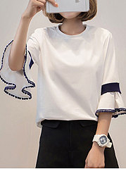 Spring Summer  Cotton  Women  Round Neck  Patchwork  Plain  Bell Sleeve  Three-Quarter Sleeve Short Sleeve T-Shirts