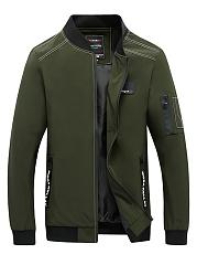 Band-Collar-Contrast-Trim-Zips-Pocket-Men-Jacket
