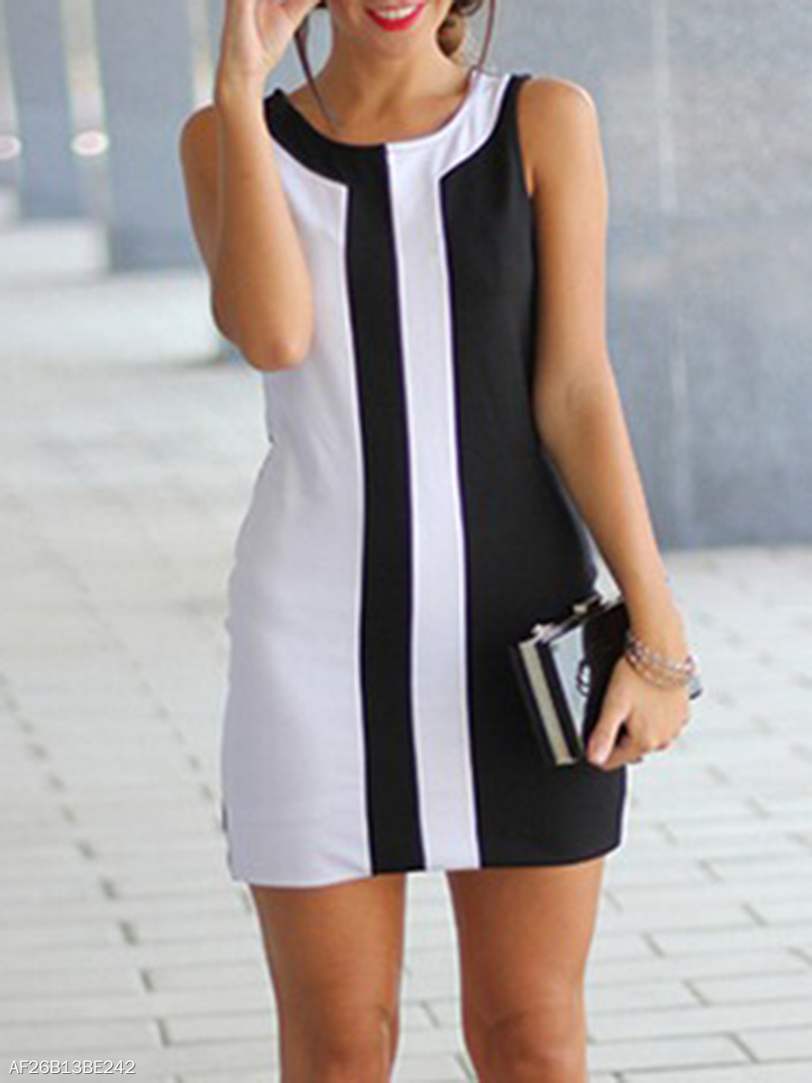 Round Neck  Color Block Sleeveless Shift Dress