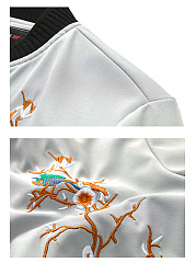 Band Collar Embroidery Contrast Trim Men Jacket